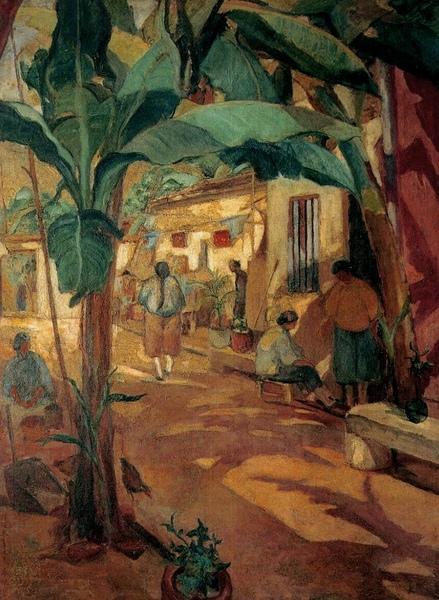 芭蕉之庭1928 年_油彩‧畫布,130 x 97 公分.jpg