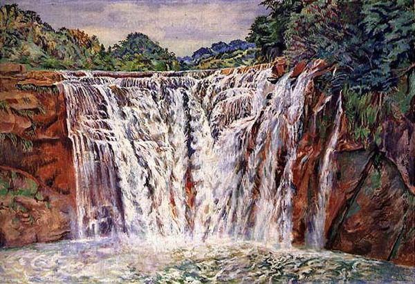 陳慧坤〈 十分瀑布 〉1968 年_紙‧膠彩,184x 129 公分.jpg
