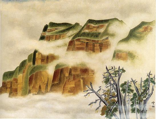 郭雪湖〈塔山 煙雲﹝阿里山﹞ 〉1956 年_紙‧膠彩,73.5 x 96 公分.jpg