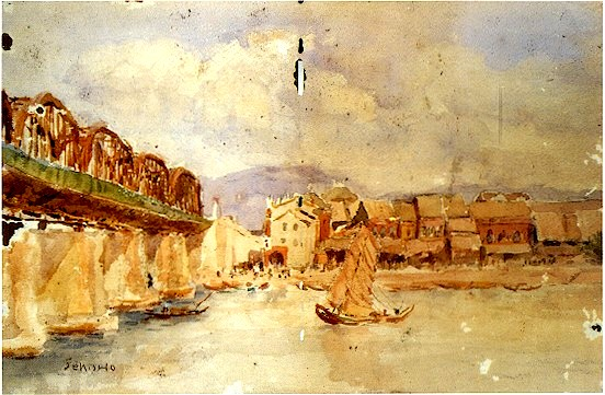 李石樵〈台北橋 〉1927 年_紙‧水彩,32 x 47 公分.jpg