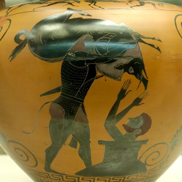 活捉厄律曼托斯山上的野豬The Erymanthian Boar_希臘瓶畫,作者不詳Unknown.jpg