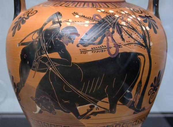 制伏克里特公牛Heracles binds the Cretan bull_1583,希臘瓶畫,作者不詳.jpg