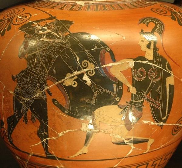 奪取亞馬孫女王希波呂忒的腰帶Herakles fighting against the Amazons_希臘瓶畫,作者不詳Unknown.jpg