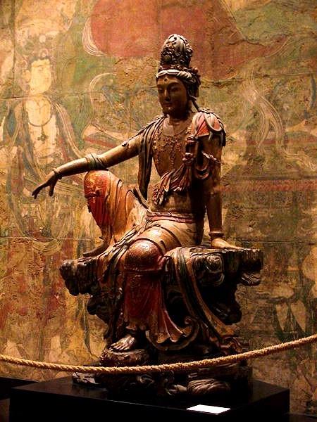 Liao Dynasty - Guan Yin statue來自山西的遼代木雕彩繪水月觀音菩薩像_麗貝卡阿內特Rebecca Arnett,現藏於美國納爾遜藝術博物館.jpg