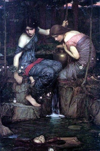 寧芙女神發現奧斐撕得頭 Nymphs finding the Head of Orpheus__約翰‧威廉姆‧沃特豪斯 John William Waterhouse.jpg