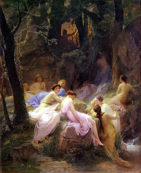 山林女神聆聽奧斐斯歌唱Nymphs Listening To The Songs of Orpheus_ 查爾斯‧弗朗索瓦‧雅拉貝爾Charles François Jalabert.jpg