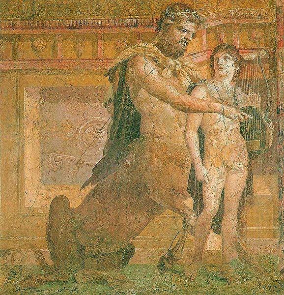 凱隆指導少年阿基里斯Chiron_instructs young Achilles_古羅馬壁畫 Ancient_Roman_fresco.jpg
