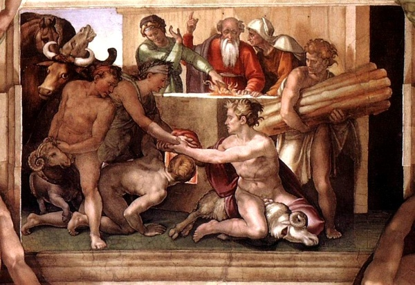 諾亞祭壇 Sacrifice of Noah. Fresco in Sistine chapel_米開朗基羅 Michelangelo Buonarroti.jpg