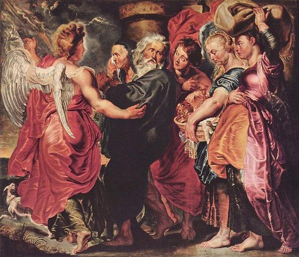 天使引導羅德家屬逃難Lot verläßt mit seiner Familie Sodom__魯本斯 Peter Paul Rubens.jpg