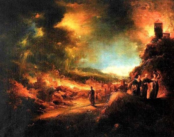 羅德一家逃出焚燒的所多瑪 Lot flieht mit seinen Tochtern aus dem brennenden Sodom_陶德曼Johann Georg Trautmann.JPGg.jpg