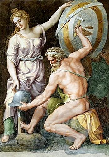 伏爾甘為阿基里斯鍛造武器Vulcan forging the armour of Achilles_朱利歐‧羅曼諾 Giulio Romano.jpg