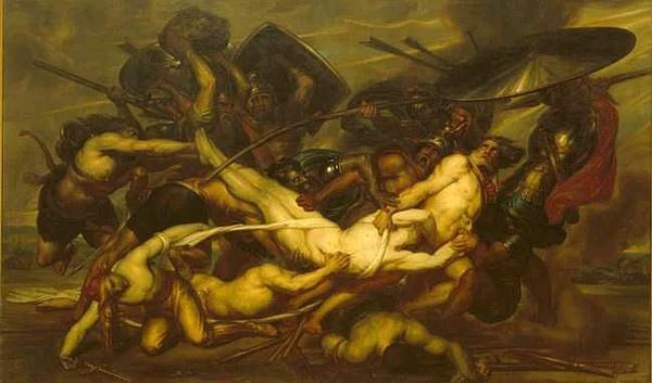與特洛伊人征戰中的帕特羅克洛斯Les Grecs et les Troyens se disputant le corps de Patrocle_安東尼·韋爾茨Antoine Wiertz.jpg