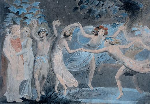 和精靈跳舞的波頓.蒂塔妮亞與帕克Oberon, Titania and Puck with Fairies Dancing_布雷克 William Blake.jpg