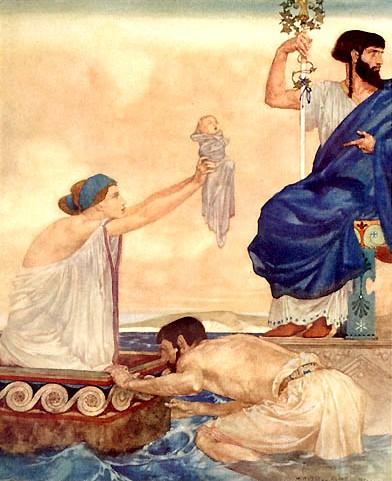 將達妮母子拋入大海Acrisius depots Danae _威廉‧羅素‧佛林特William Russell Flint  .jpg
