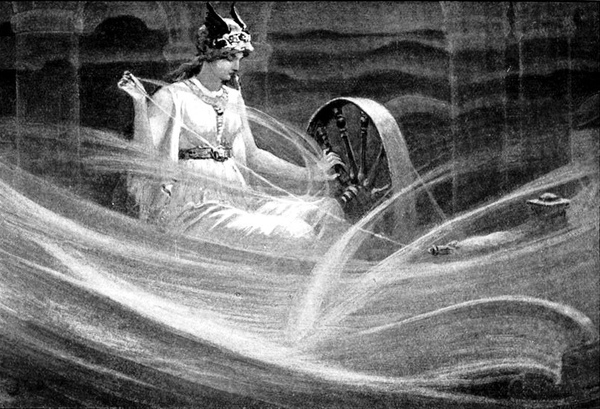 紡雲彩的弗麗嘉 Frigga Spinning the Clouds_約翰.查爾斯.多爾曼John Charles Dollman.jpg