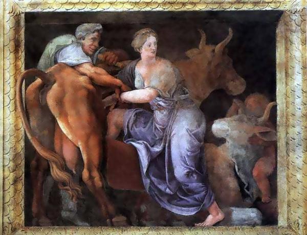 帕西法娥躲在假牛腹中Dédale offrant la génisse de bois à Pasiphaé _羅曼諾Giulio Romano.jpg