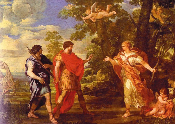 埃涅阿斯遇見化身成女獵人的維納斯 Venus as Huntress Appears to Aeneas_科爾托納Pietro da Cortona  .jpg