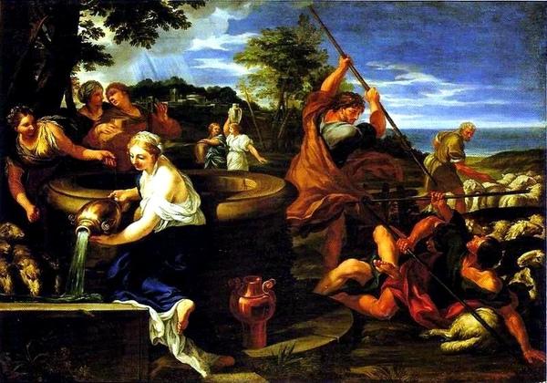 摩西與葉特羅之女Moses and the Daughters of Jethro_西羅Ciro Ferri.jpg