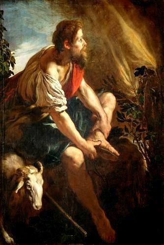 在西奈山燃燒 Moses vor dem brennenden Dornbusch_菲提 Domenico Fetti.jpg