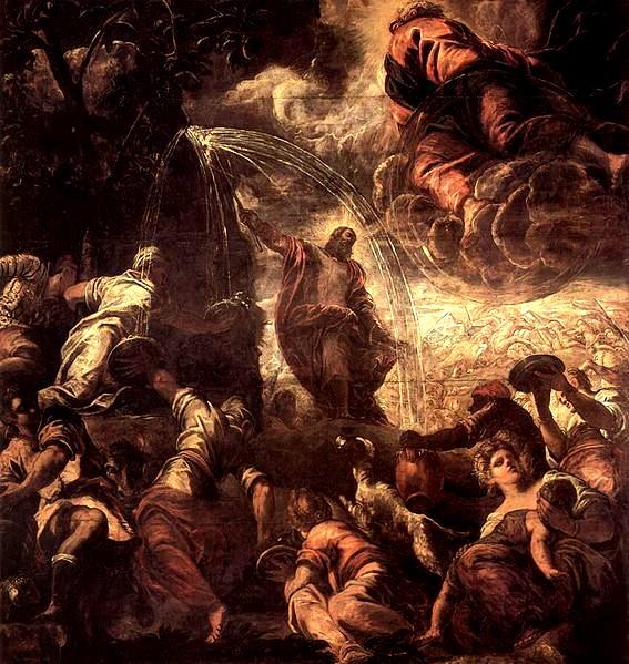 擊磐出水Moses schlägt Wasser aus dem Felsen_丁特列托Tintoretto, Jacopo.jpg