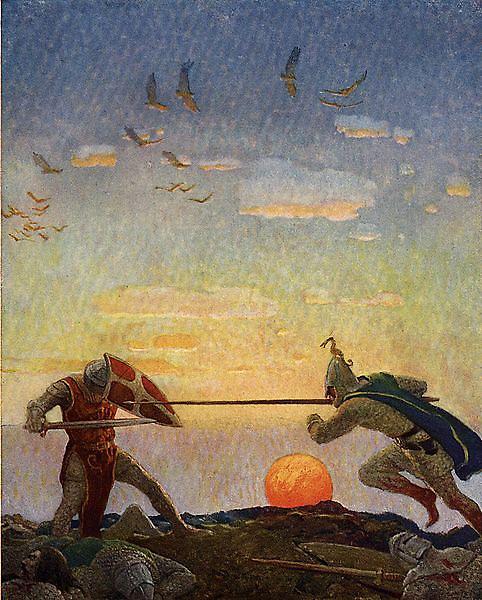 與莫德萊得決鬥的亞瑟王the death of Arthur and Mordred _魏斯 N. C. Wyeth.jpg