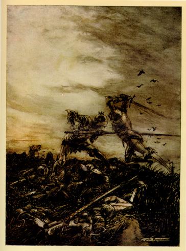 亞瑟被殺害How Mordred was Slain _阿瑟‧拉克姆Arthur Rackham .jpg