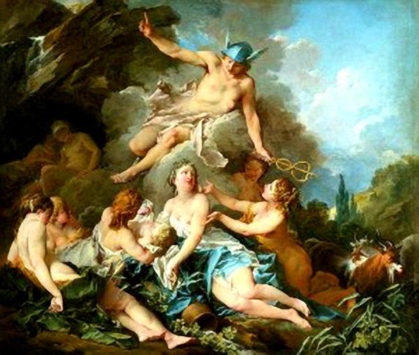 酒神誕生 Mercury Confiding the Infant Bacchus to the Nymphs (La naissance de Bacchus)_布雪 Francois Boucher.jpg