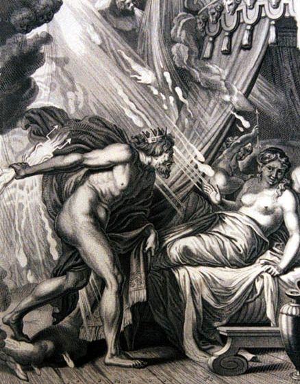 塞墨勒之死Semele perishes at the sight of Zeus_貝爾納‧皮卡爾BERNARD PICART .jpg