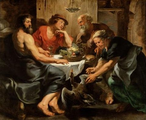 朱比特與墨丘利停留於費萊蒙和鮑西絲之家Jupiter and Mercurius in the house of Philemon and Baucis_魯本斯 Peter Paul Rubens.jpg