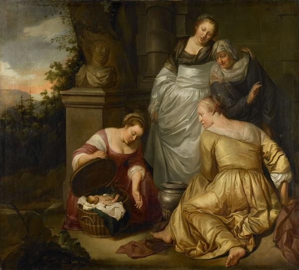 柯可若普斯的女兒看顧厄里克托尼俄斯 De dochters van Cecrops vinden Erechthonius_亨德里克Heerschop, Hendrick .jpg