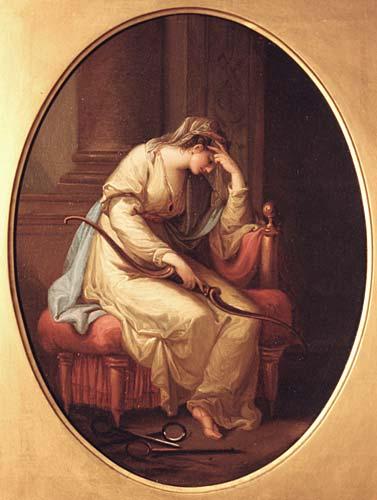 為尤利西斯哭泣的潘尼羅佩Penelope Weeping over the Bow of Ulysses _考夫曼Angelika Kauffmann.jpg