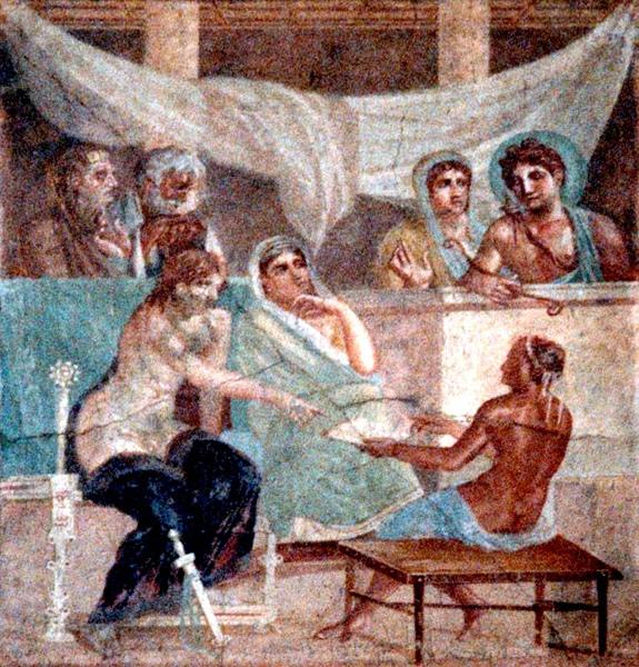 阿柯絲提斯和她的丈夫詅聽神諭Alcestis and her husband listen to the oracl_龐貝壁畫Pompei, .jpg