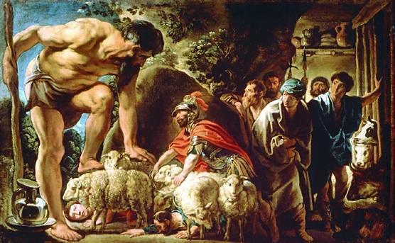 奧德修斯在波呂斐摩斯的洞穴 Odysseus in the Cave of Polyphemus_雅各布‧喬登斯 Jordaens, Jacob.jpg