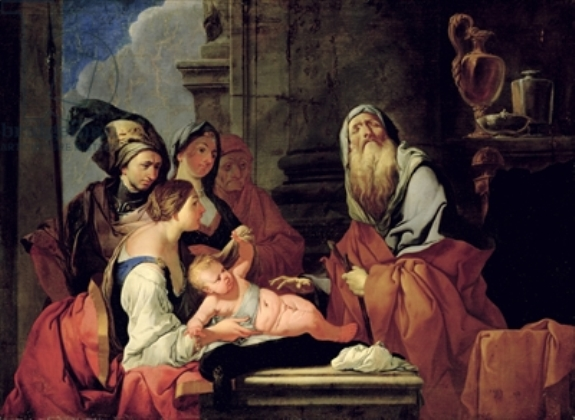 盲先知提瑞西阿斯對那西賽斯的預言 The Blind Prophet Tiresias with the Baby Narcissus_朱利奧 Giulio Carpioni.jpg