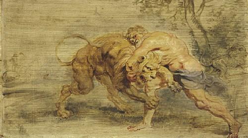 獵取涅墨亞獅子 Herakles en de nlNemeïsche leeuw_魯本斯 Peter Paul Rubens.jpg