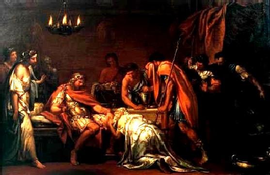 普里阿摩斯為贖回赫克托爾的屍體懇求 Priam Pleading with Achilles for the Body of Hector _漢彌頓Gavin Hamilton.jpg