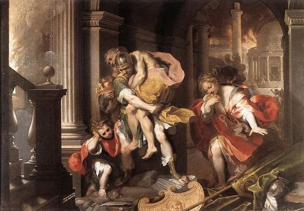 埃涅阿斯奔離燃燒的特洛伊城Aeneas' Flight from Troy_菲德里克‧巴洛奇Federico Barocci.jpg