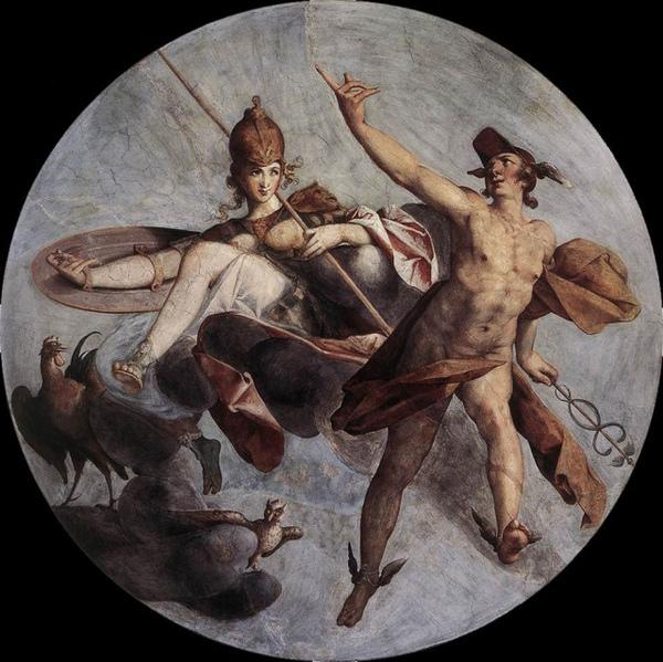 赫耳墨斯和雅典娜Hermes and Athena _史普蘭格Bartholomäus Spranger.jpg