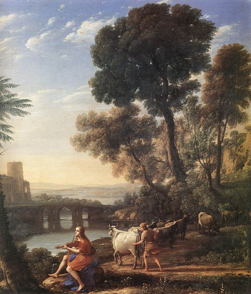 阿波羅守護阿德梅托斯 Landscape with Apollo Guarding the Herds of Admetus _克勞德‧洛蘭]Claude Lorrain.jpg