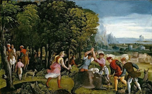 狩獵卡呂冬野豬The Hunt of the Calydonian Boar_多索‧多西Dosso Dossi.jpg