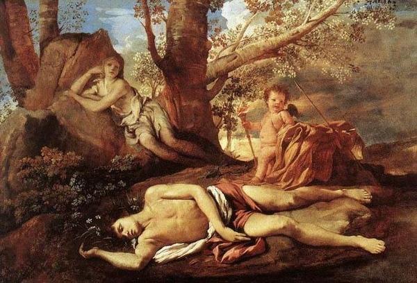 厄可永別那西賽斯 Echo and NaEcho and Narcissus__尼古拉.普桑 Nicolas Poussin.jpg