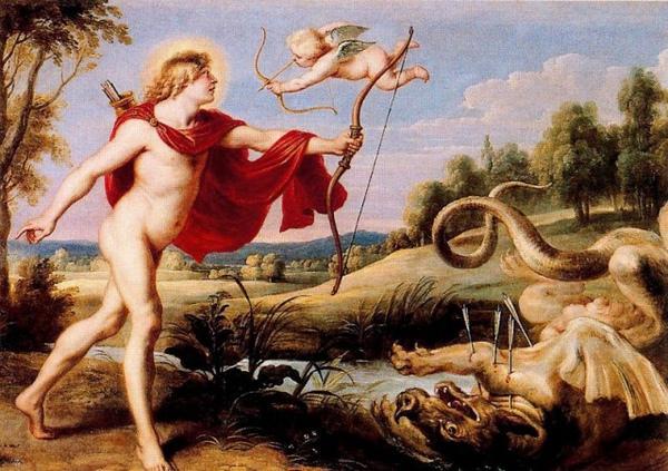 阿波羅與巨蟒皮同Apollo and the python snake of painting _科内利斯‧德‧伏斯Cornelis De Vos.jpg