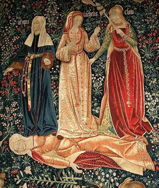 The Triumph of Death, or The 3 Fates. Flemish tapestry (probably Brussels, ca. 1510-1520). Victoria and Albert Museum, London..jpg