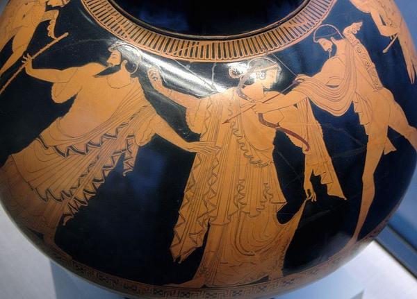 伊達斯與瑪彭莎相隔宙斯與阿波羅Idas and Marpessa are separated by Zeus of Apollo _希臘瓶畫,作者不詳Unknown.jpg