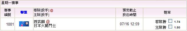 2012,07,16日本職棒 西武@火腿
