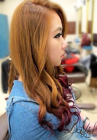 當蜜糖粉橘色系 遇上 玫瑰酒紅色系 (挑染) 2014年髮型 作品