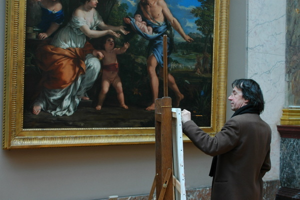 羅浮宮內畫畫的畫家