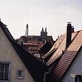 德國浪漫大道羅騰堡城牆俯拍城內建築