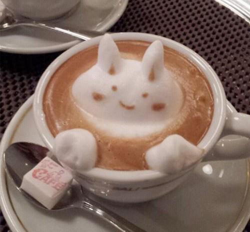 躲在杯子裡的兔子_立體奶泡咖啡