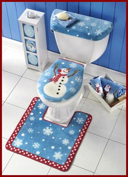 snow man toilet set cover